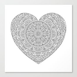 Mandala Heart with Flowers and Leaves for Adult Coloring Canvas Print