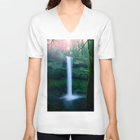 waterfall V-neck T-shirts featuring Waterfall by Ian Bevington