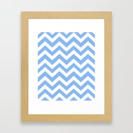 Jordy blue - blue color - Zigzag Chevron Pattern Framed Art Print