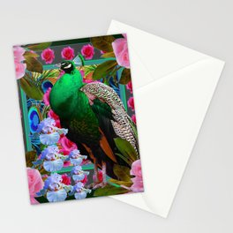 PINK ROSES & GREEN PEACOCK GARDEN FLORAL ART Stationery Cards