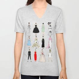Outfits of Audrey Hepburn Fashion (White) Unisex V-Neck