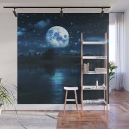 Rural forest near a river night landscape with full moon Wall Mural