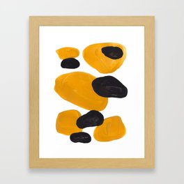 Mid Century Abstract Black & Yellow Fun Pattern Floating Mustard Bubbles Cheetah Print Framed Art Print