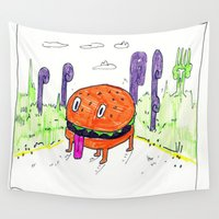burger Wall Tapestries featuring burger dog by withapencilinhand