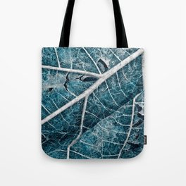 Frozen Winter Leaf Tote Bag