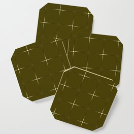 Glowing large yellow and small gold stars on a dark background. Coaster