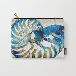 Beachy Art - Nautilus Shell Bleu - Sharon Cummings Carry-All Pouch