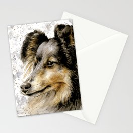 Border collie dog watercolor painting Stationery Cards