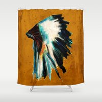 headdress Shower Curtains featuring Native Headdress by James Peart