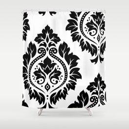 Decorative Damask Art I Black on White Shower Curtain