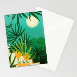Exotic Garden Nightscape / Tropical Night Series #2 Stationery Cards