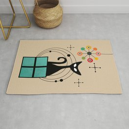 Atomic Space Christmas Cat Rug