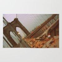 brooklyn bridge Area & Throw Rugs featuring Brooklyn Bridge  by S|Tarah