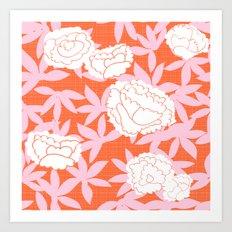 Zen Floral _ pink& coral Art Print