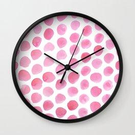 Pink Polka Dot Watercolour Wall Clock