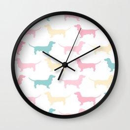 Pastel Dachshund Pattern Wall Clock
