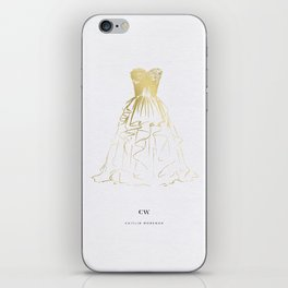 Little Gold Ball Gown Dress iPhone Skin