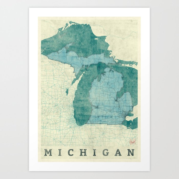 Michigan State Map Blue Vintage Art Print By Hubertroguski Society6