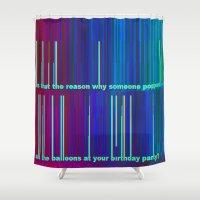 pop art Shower Curtains featuring POP by Helyx Helyx