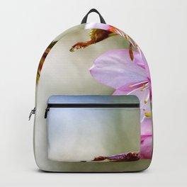 Pink Sakura Flower Against The Beige Background Backpack