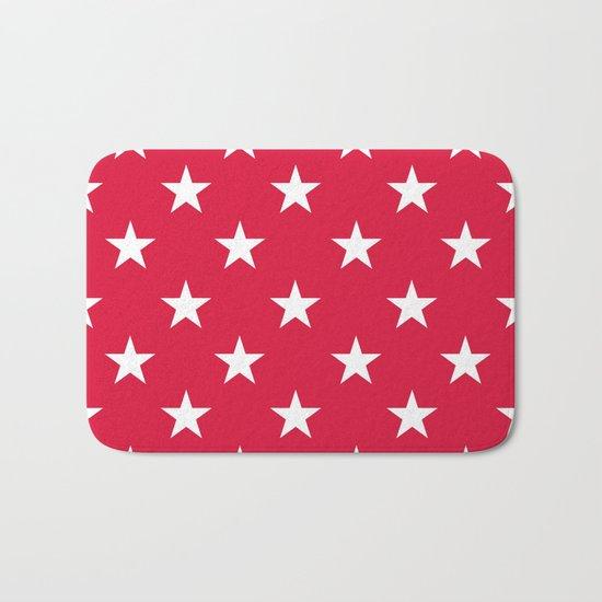 Stars (White/Crimson) Bath Mat
