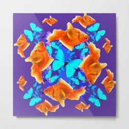 BLUE BUTTERFLIES & GOLDFISH PURPLE  ART Metal Print