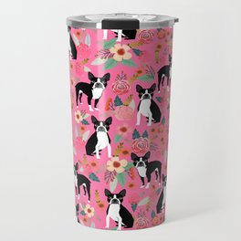 Boston Terrier florals dog breed pattern must have pupper gifts dog lovers Travel Mug