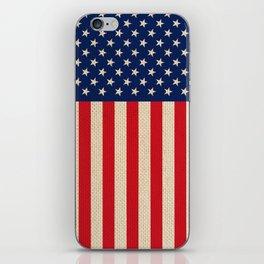 USA faux burlap flag iPhone Skin