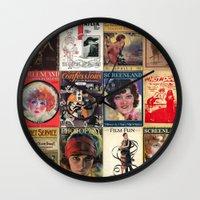 pulp Wall Clocks featuring pulp by Jeni Decker