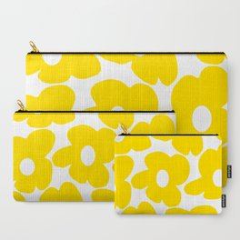 Large Yellow Retro Flowers on White Background #decor #society6 #buyart Carry-All Pouch