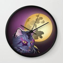 Dark Cat and Full Moon Wall Clock