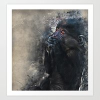 gorilla Art Prints featuring Gorilla by jbjart