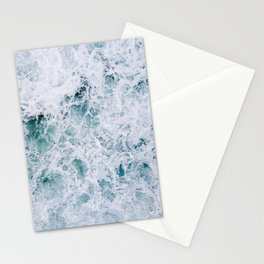 Waves in an abstract white and blue seascape Stationery Cards
