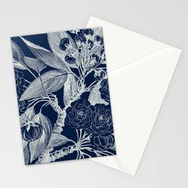 Floral, Roses, Vintage Print, Navy Blue Stationery Cards