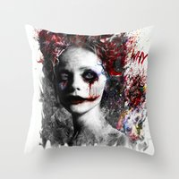harley quinn Throw Pillows featuring Harley Quinn by ururuty