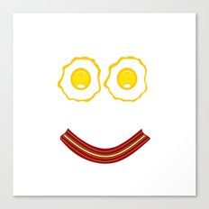 Bacon And Eggs Happy Face Canvas Print