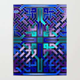Blue Celtic Knot Square Poster