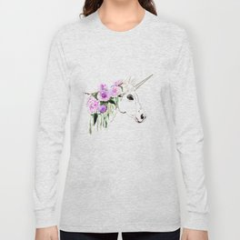 Unicorn with purple flowers Long Sleeve T-shirt