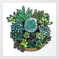 Golden Succulents and Sunshine Art Print
