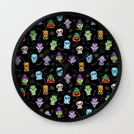 Halloween characters making funny faces in a cool pattern design Wall Clock