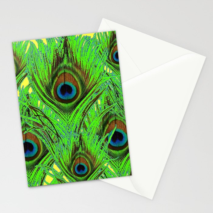 YELLOW-GREEN PEACOCK FEATHERS ABSTRACT ART Stationery Cards
