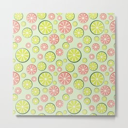 Juicy limes and grapefruits on green background Metal Print