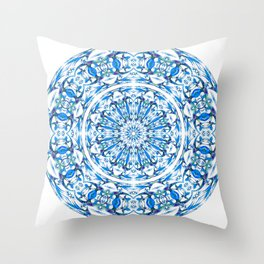 Classy Psychedelic White Light Mandala Throw Pillow