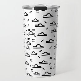 Libra Symbol Pattern Simple Black and White Drawn Travel Mug