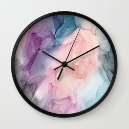 Dark and Pastel Ethereal- Original Fluid Art Painting Wall Clock