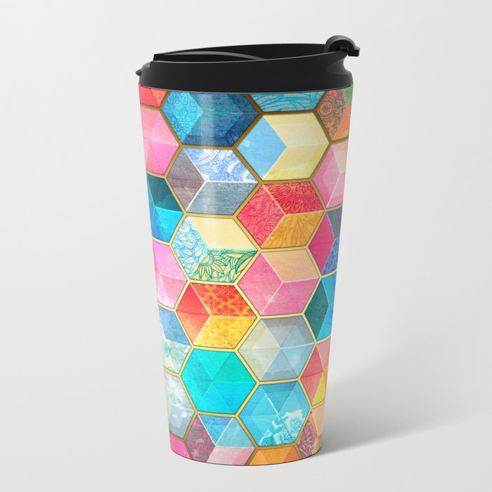 Crystal Bohemian Honeycomb Cubes - colorful hexagon pattern  Metal Travel Mug