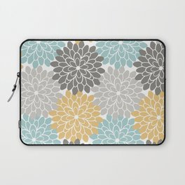 Floral Petals in Blue, Grey and Yellow Laptop Sleeve