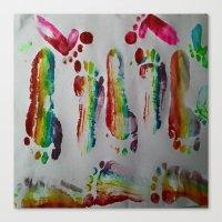 duvet cover Canvas Prints featuring FOOTSTEPS DUVET COVER DESIGN by aztosaha