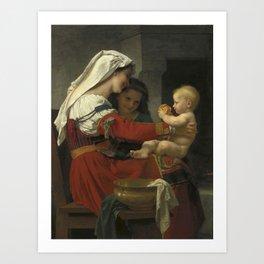 "William-Adolphe Bouguereau ""Admiration maternelle - le bain"" Art Print"