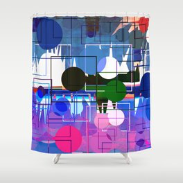 Multi- Blue Sticker Line Abstract Design Shower Curtain